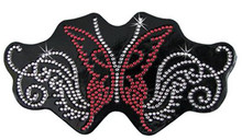 Red Sparkling Butterfly Rhinestone Helmet Patch