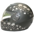 DOT Full Face Skull Pile Matte Motorcycle Helmet