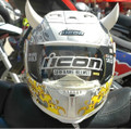 White Motorcycle Helmet Horns