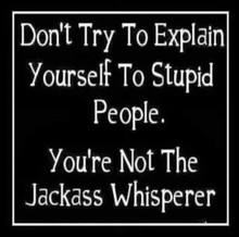 Don't Try to Explain Yourself to Stupid People