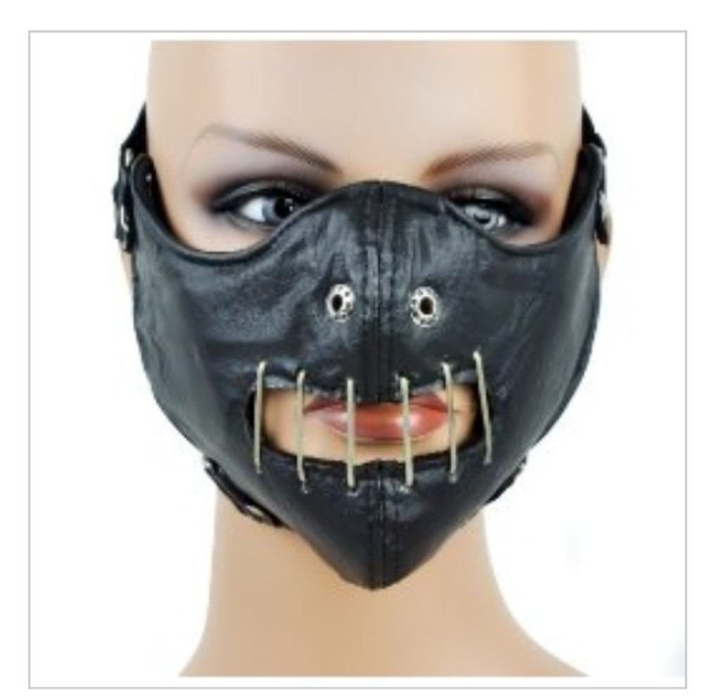 Half Hannibal Leather Face Mask