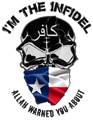 I'M THE INFIDEL ALLAH WARNED YOU ABOUT (Texas flag) T-Shirt