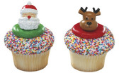 Santa and Reindeer Cake and Cupcake Toppers