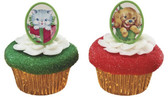 Christmas Puppy and Kitten Cake and Cupcake Toppers