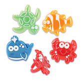 Beach Cuties Cake and Cupcake Toppers featuring turtle, crab, clownfish and whale