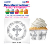 Silver Cross Cupcake Liners