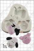 Cute Farm Animal Heads Silicone Molds