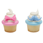 mustashes and bows cake cupcake topper