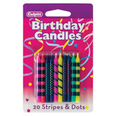 Bright Stripes & Dots Candles