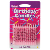 Pink Camouflage Cake and Cupcake Candles