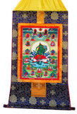 21 Taras with Green Tara in the Center Tibetan Buddhist Handmade Brocade Thangka