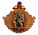 Antique Mahakala Turquoise and Coral Gold Locket