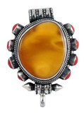 Beeswax and Coral Sterling Silver Prayer Box Ghau