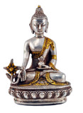 Medicine Buddha Statue, Silver and Brass