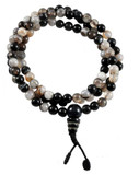 Black and White Agate Prayer Beads