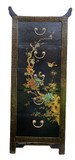 Black Pagoda and Village Scene Leather Chest of Drawers