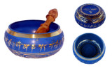 Tibetan Singing Bowl, Blue and Gold, for meditation and sound healing