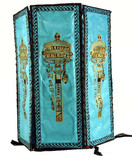 Blue Prayer Wheel Lokta Paper Lantern