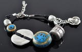 Blue Stone and Silver Beaded Bracelet