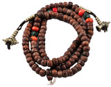 Bodhi Seed, Turquoise, and Coral Mala