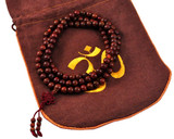 Bodhi Seeds Prayer Beads Mala Gift Set with Brown Om Hemp Bag