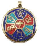 Buddha Eyes and Om Mani Padme Hum Pendant in Brass