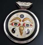 Buddha Eyes and Om Symbol Pendant