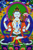 Chenrezig, Avalokiteshvara, Buddha Thangka on Brocade