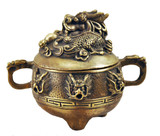 Chinese Copper Foo Dog Incense Burner