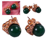 Chinese Green Jade 14K Gold Filled Earrings