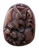 Chinese Jade Eagle Bear Pendant