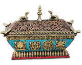 Copper and Brass Incense Burner with Turquoise and Coral Inlay