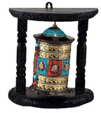 Copper, Turquoise, and Coral Wall-Mounted Prayer Wheel