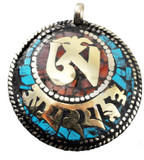 Double Om Symbol Brass and White Metal Pendant with Turquoise and Coral Inlay