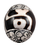 dZi Bead and Sterling Silver Bead