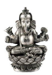 Ganesh on a Lotus Silver Statue
