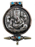 Ganesha White Metal Prayer Box with Turquoise and Coral Gemstones
