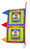 Green Tara Satin Vertical Prayer Flag
