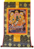 Green Tara Tibetan Buddhist Brocade Thangka