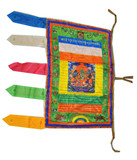 Green Tara Vertical Prayer Flag- Handmade from Satin