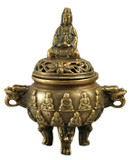 Guan Yin Buddha Brass Incense Burner