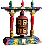Hand-Painted Wooden Standing Prayer Wheel