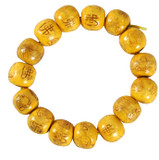 Happy Buddha Yellow Wood Wrist Mala