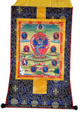 Hevajra in Yab Yum Thangka on Brocade