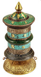 Jade and Turquoise Brass Prayer Wheel, Tibetan Buddhist Mani Wheel- out of stock
