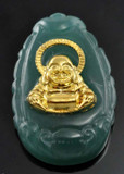 Jade Happy Buddha Pendant with Plated Gold