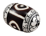 Large dZi Bead with Sterling Silver