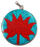 Lotus Flower Turquoise and Coral Pendant