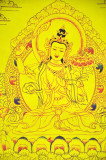 Manjushri on Gold Buddha Thangka on Brocade
