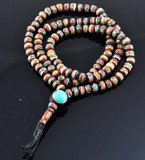 Medicine Mala Yak Bone Prayer Beads with Turquoise and Coral Inlay, 7mm